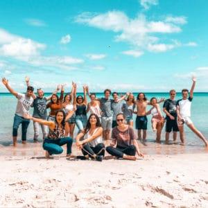 A tour group at the beach