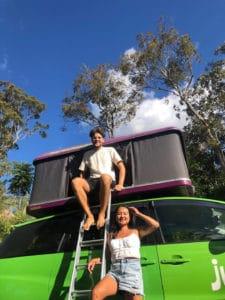 Couple and a camper van