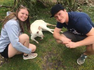 A couple with a kangaroo