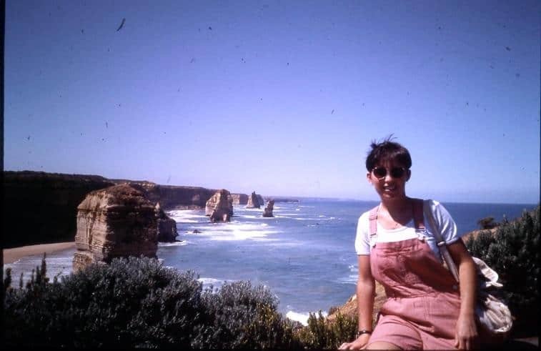 Ruairi's mum in front of the twelve apostles